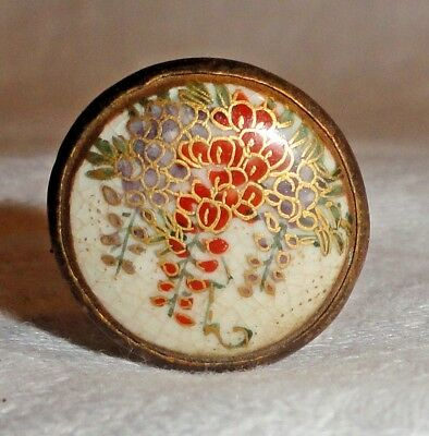 Beautiful Antique Japanese Satsuma Hat Pin From Old Estate