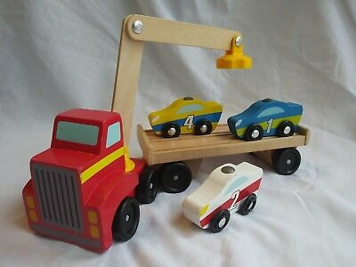Melissa  Doug Magnetic Car Loader Wooden Used Toy Set With 3 Cars 1 Semi-Trailer