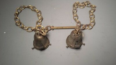 """Pair of Antique Brass Single Light Hanging Lamp Each With 26"""" Brass Chain Weber"""
