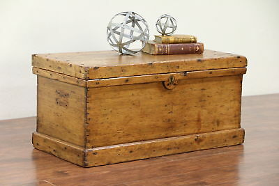 Country Pine Antique Tool Chest, Trunk or Primitive Coffee Table #29881