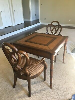 ETHAN ALLEN Game Table Stand with 2 chairs