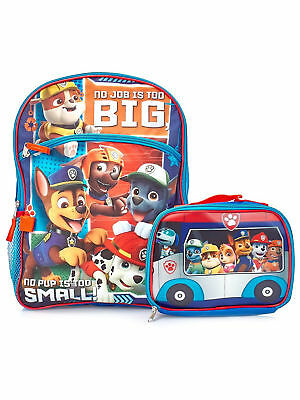 "Boys Paw Patrol Backpack 16"" with Detachable Insulated Lunch Bag 2-Piece"