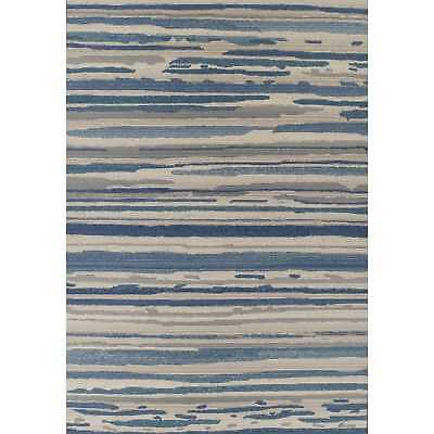 Addison Freeport Blue/ Grey Abstract Stripe Flat Weave Indoor/ Outdoor Area Rug