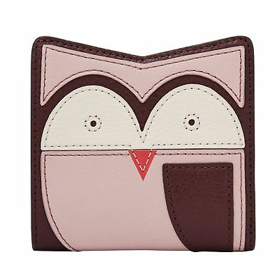 FOSSIL Purse RFID Mini Wallet Owl Purple Multi