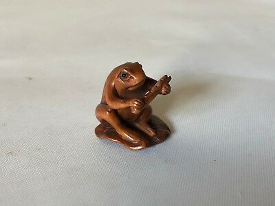 Vintage Hand Carved Wood Japanese Miniature Frog on Lily Pad w Flute Netsuke