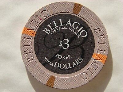 BELLAGIO  Hotel & Casino *  3$ Poker Chip * Las Vegas *  am Strip