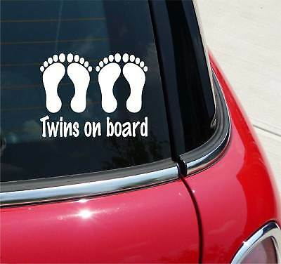Twins On Board Baby Feet Twin Family Graphic Decal Sticker Car Vinyl