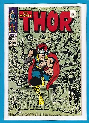 "Mighty Thor #154_July 1968_Vf_Loki_""to Wake The Mangog""_Silver Age Jack Kirby!"