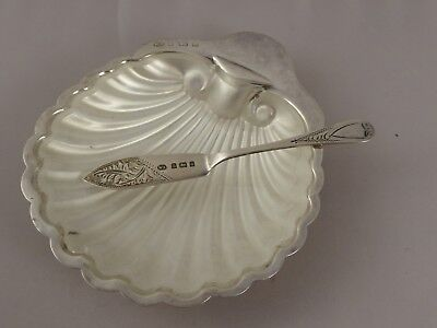 Lovely Solid Sterling Silver Shell Butter Dish And Knife With Glass Liner 1903
