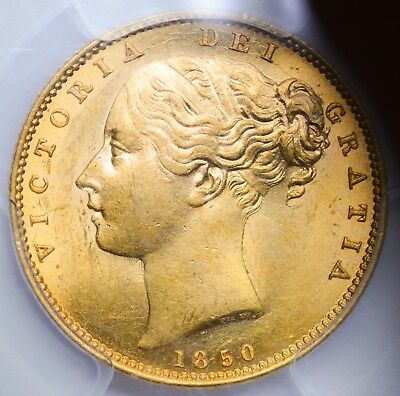 CHOICE UNCIRCULATED MS-62 1850 Queen Victoria Gold Shield Sovereign - RARE