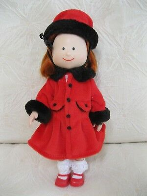 """Madeline 8"""" Doll In Beautiful Red Fleece Coat And Hat Outfit Plaid Dress  Shoes+"""
