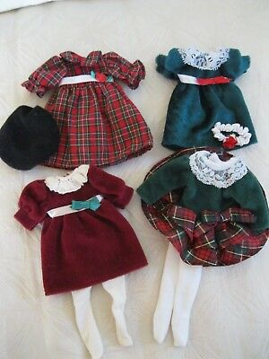 """Madeline 8"""" Doll 4 Christmas Holiday Dresses Red Plaid Burgundy Green Excellent!"""