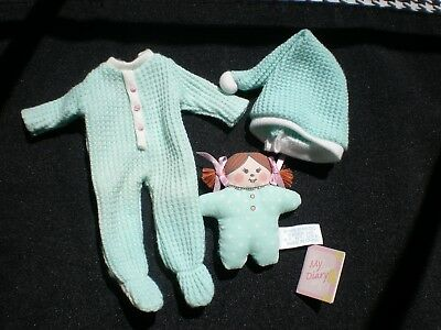 """Madeline 8"""" Doll Green Thermal Sleepers Pajamas Matching Night Cap Diary Dolly"""