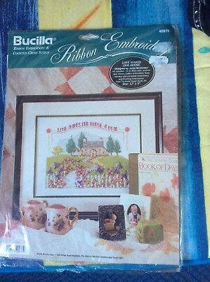 Bucilla Ribbon Embroideryand Cross Stitch  Kit Love Makes Our Home BN