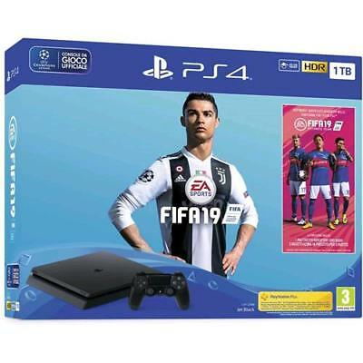 Console Sony Ps4 Console Playstation 4 1 Tb F Chassis Slim Black Nera + Fifa 19