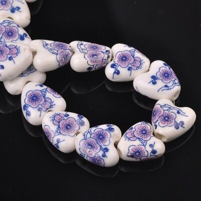 NEW 10pcs 14mm Ceramic Heart Flowers Loose Spacer Beads Findings Pattern #4