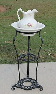 19th c Victorian Iron Washstand Bowl & Pitcher Holder Vanity Wash Basin Stand