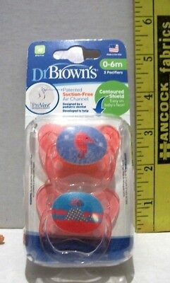 Dr Browns Pacifiers Green Lamb And Dots 0-6 Months Suction Free Lot Of 2