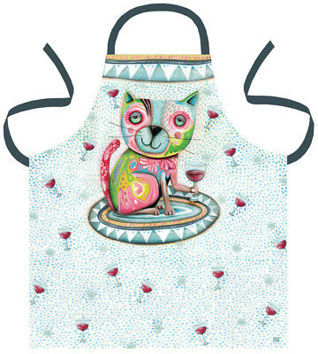 MICHELLE ALLEN Designs COTTON APRON Kitchen Craft Garden CAT PET GROOMING WINE