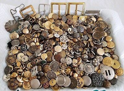 Lot of 3lbs Antique & Vintage All Metal Buttons Military Designer Southwestern