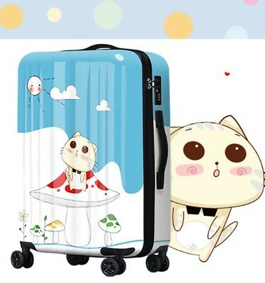 E362 Lock Universal Wheel Cartoon Cat Travel Suitcase Luggage 20 Inches W