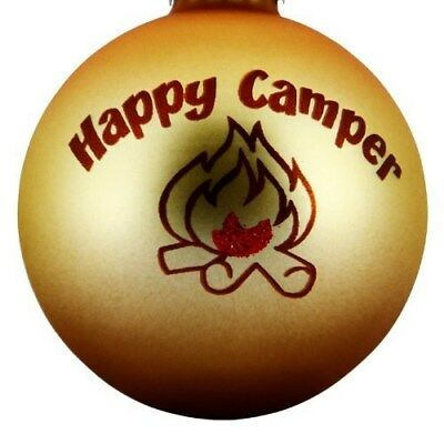 "Happy Camper Campfire Christmas Tree Camping Ornament (3"" Round Ball Design)"