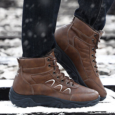 Mens Padded Short Plush Warm Ankle Snow Boots High Top Lace Up Round Toe C956