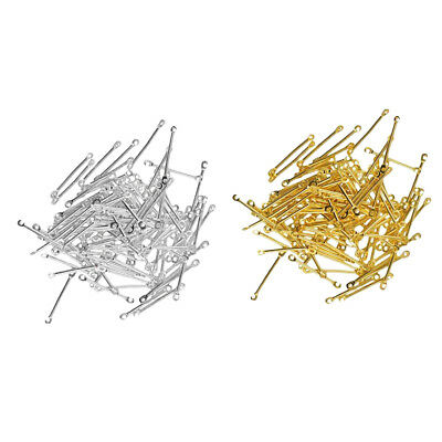 200pcs Gold Silver Straight Bar Connectors Bails Jewelry Craft Findings DIY