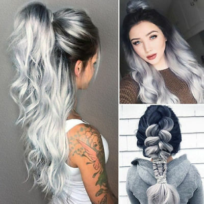 White Grey Silver Lace Front Wig Heat Resistant Synthetic Hair Long Wavy Wig