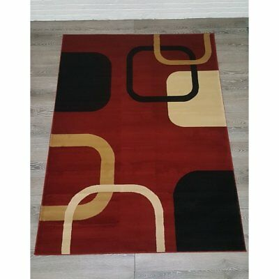 Elegant Collection Modern Contemporary Abstract Squares Red Area Rug - 5'3 x 7'3