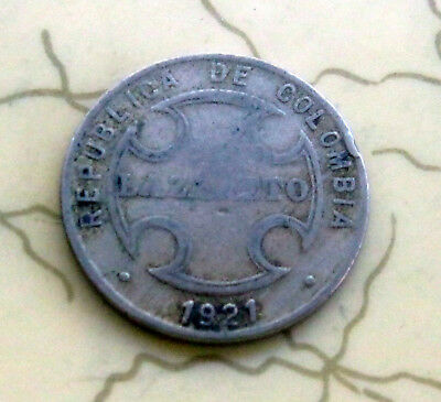 Coin Colombia Leprosarium Coinage 5C 1921 O70