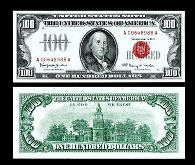 1966  $100 Legal Tender Red Seal ~~Almost Uncirculated