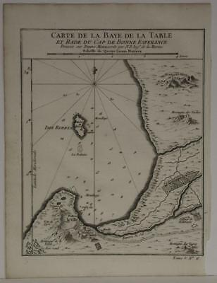 Cape Of Good Hope & Cape Town South Africa 1748 Bellin Antique Engraved Map