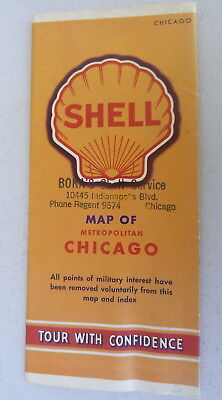 1942 Chicago metro road map Shell oil gas Illinois downtown streets WWII