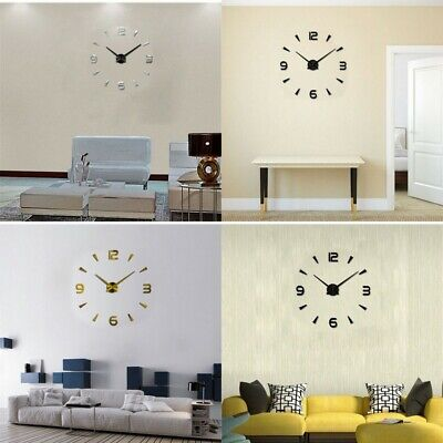 DIY 3D Roman Numbers Watch Wall Clock Home Decor Mirror Wall Sticker 4 Colors CW