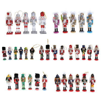 4/5/6pcs Wooden Nutcracker Soldier Gift Walnut Puppet Christmas Tree Party Decor