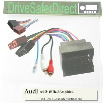 4-Head-0128-02J Adaptor,ISO-JOIN Kit for Unbranded Radio/Audi A4 Half Amp 05-15