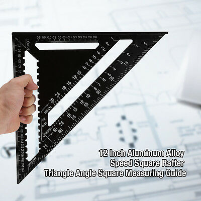 300mm Aluminum Alloy Speed Square Metric System Black Roofing Triangle Ruler