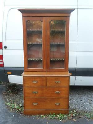 A Victorian Solid Mahogany Glazed Bookcase Display Cabinet Cupboard Over Drawers