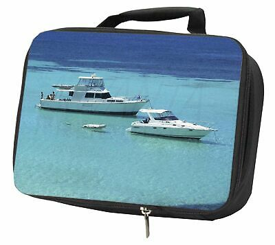 Yachts in Paradise Black Insulated School Lunch Box Bag, BOA-5LBB