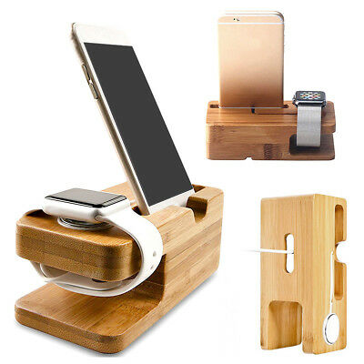Bamboo Wood Charging Station Charger Dock Stand Holder For Apple Watch iPhone CZ