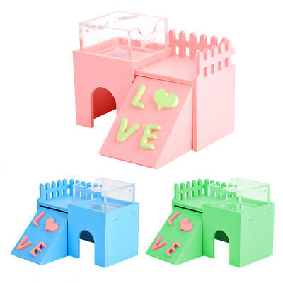 Wooden Toy House Cage Bed Exercise Toy for Hamster Hedgehog Mouse Rat Guinea Pig