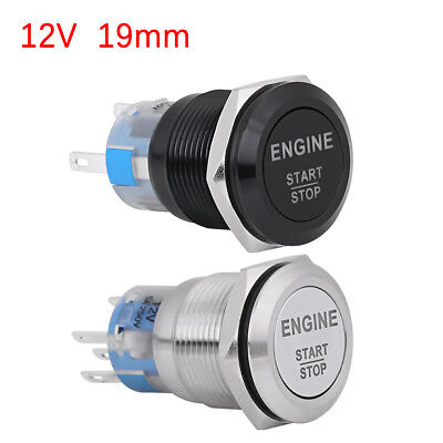 12V 19mm LED Push Button Switch Momentary ON OFF SPST Car Ignition Engine Start