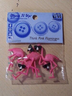 Birds Sunglasses Cool DRESS IT UP Buttons Think Pink Flamingos 10407