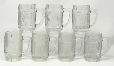 Lot 7 Vintage Dad's Root Beer Clear Embossed Barrel Glass Mugs Heavy Duty SCP