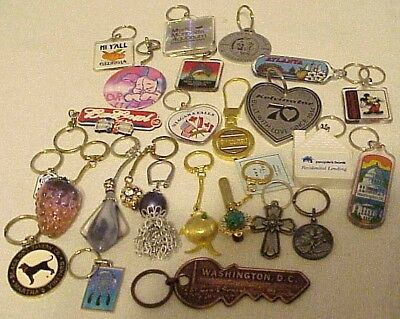 Vintage Retro Keychain Lot Rhinstones_Fish_States_Football_Religious_24 PCS