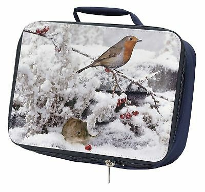 Snow Mouse and Robin Print Navy Insulated School Lunch Box Bag, AMO-5LBN