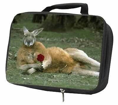 Kangaroo with Red Rose Black Insulated School Lunch Box Bag, AK-1RLBB