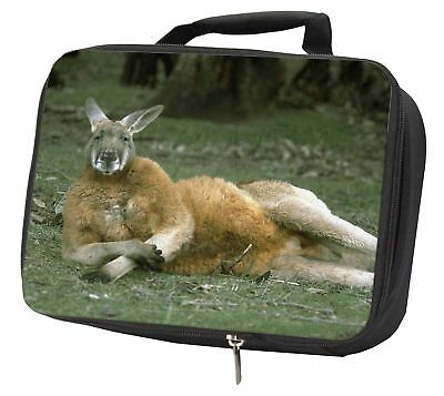 Cheeky Kangaroo Black Insulated School Lunch Box Bag, AK-1LBB