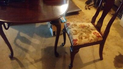 4 Ethan Allen Solid Wood Cherry Claw Dining Room Chairs